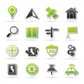 Gps, navigation and road icons — Stock Vector