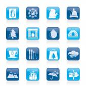 Winter, Sport and relax icons — Stockvektor