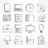 Iconos de negocios y oficinas — Vector de stock