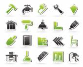 Building and home renovation icons — Stock Vector