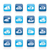 Cloud services and objects icons — Stock Vector