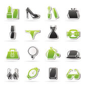 Female Fashion objects and accessories icons — Stock Vector