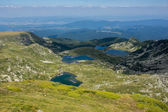 The Twin, The Trefoil, The Fish and The Lower Lake, The Seven Rila Lakes, Rila Mountain — Stock Photo