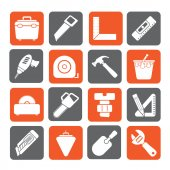 Silhouette Construction objects and tools icons — Stock vektor