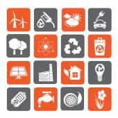 Ecología, medio ambiente y reciclaje de los iconos de la silueta — Vector de stock