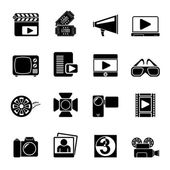 Silhouette Movie and cinema icons — Stock Vector