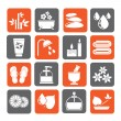 Silhouette Spa and relax objects icons — Stock Vector #69142597