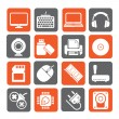 Silhouette Computer peripherals and accessories icons — Stock Vector #69142689