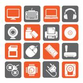 Silhouette Computer peripherals and accessories icons — Stock Vector
