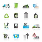 Garbage, cleaning and rubbish icons — Stock Vector