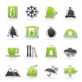 Winter, Sport and relax icons — Stock Vector
