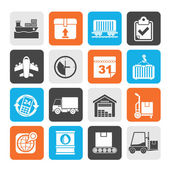 Silhouette Logistic and Shipping icons — Stockvector