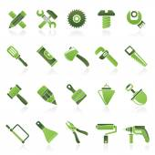 Construction tools object icons — Stock Vector