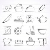 Restaurant and kitchen items icons — Stock Vector