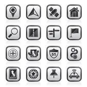 Gps, Navigation und Road-Symbole — Stockvektor