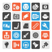 Silhouette Car parts and services icons — Stock Vector