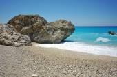 Panoramic view of Megali Petra Beach, Lefkada, — Stock Photo