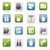 Wine industry objects icons — Stock Vector