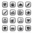 Постер, плакат: Restaurant and kitchen items icons