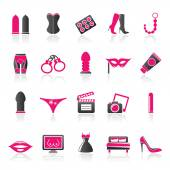 Sex, Erotic and temptation icons — Stock Vector