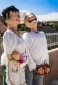 Italian Chef Famliy Scarecrows — Stock fotografie