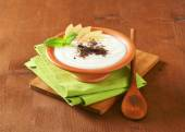 Semolina or rice pudding with apple and chocolate — Stock Photo