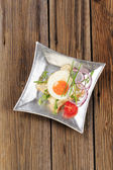 Huevo frito y pan blanco — Foto de Stock
