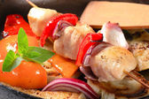 Pan roasted vegetables and chicken skewer — Stock Photo