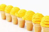 Yellow ice cream cones — Stock Photo