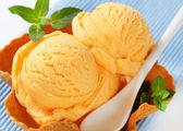 Orange sherbet in a waffle basket — Stock Photo