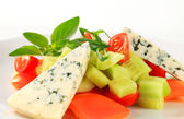 Vegetable salad with blue cheese — Stock Photo