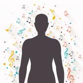 Fond de musique abstraite de vecteur avec notes — Vecteur