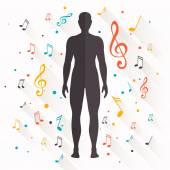 Musica di sottofondo vettoriale con note — Vettoriale Stock