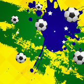 Vector Soccer Background with Brazil Colors — Stock Vector