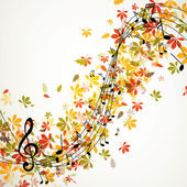 Vector Autumn Music Background with Notes — Wektor stockowy