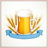 Vector Fresh Beer with a Ribbon — Stock Vector