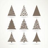 Vetor ícones de árvore de natal — Vetor de Stock