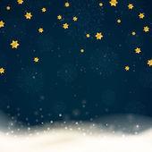 Vektor vintern bakgrund med stjärnor och snöflingor — Stockvektor