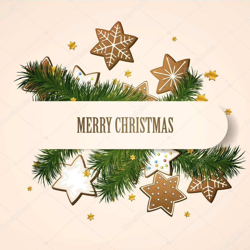 矢量与姜饼圣诞节背景