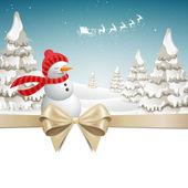 Vector Christmas Design with Snowman — Stock Vector