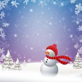 Vector Snowman in a Winter Landscape — Stock Vector