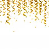 Vector Golden Confetti and Party Streamers — Stock Vector