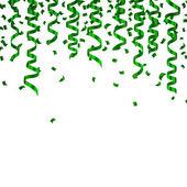 Vector Green Confetti and Party Streamers — Vetor de Stock