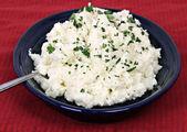 Mashed cauliflower.  Selective focus on foreground. — Stock Photo