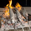 Cooking fish grilled over hot coals bonfire — Stock Photo #53860241