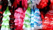 Typical colored Spanish flamenco dress, Andalusia, Spain — Stock Photo