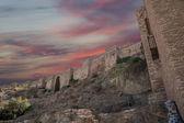Alcazaba castle on Gibralfaro mountain. Malaga, Andalusia, Spain. The place is declared UNESCO World Heritage Site — Stock Photo