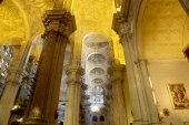 The interior Cathedral of Malaga--is a Renaissance church in the city of Malaga, Andalusia, southern Spain. It was constructed between 1528 and 1782, its interior is also in Renaissance style — Stock Photo