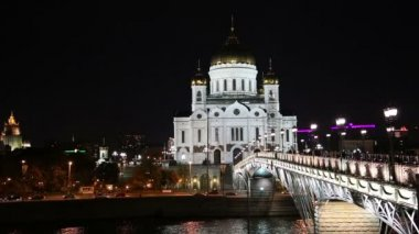 Christ the Savior Cathedral and Patriarshy Bridge (Night view), Moscow, Russia — Stock Video