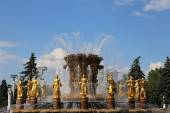 Fountain Friendship of Nations(1951-54, The project of the fountain by architects K. Topuridze and G. Konstantinovsky) -- VDNKH (All-Russia Exhibition Centre), Moscow, Russia — Stock Photo